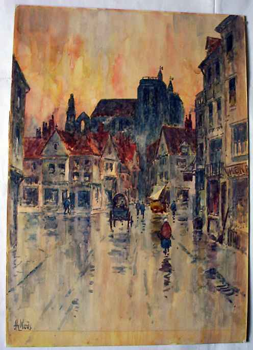 Henry Woods, A rainy street scene in Abbeville, watercolour, c1890.