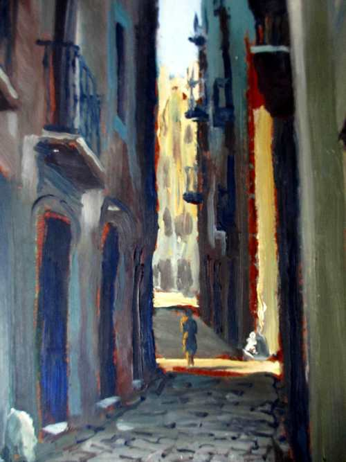 Grivelero Gomez, continental street scene, oil on board, signed. c1990.