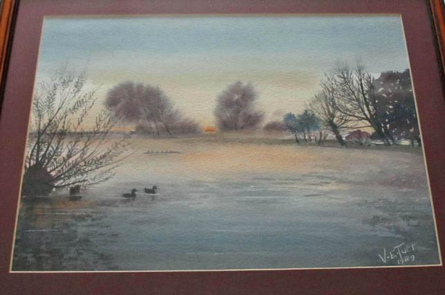 VE Tuff, Sunset in Lincolnshire, watercolour, signed, 1989.