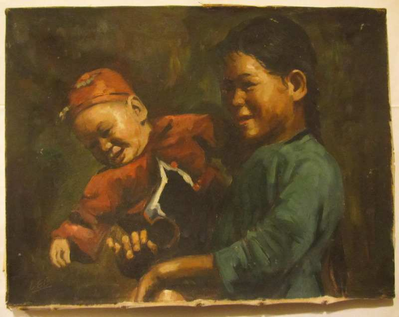 Lee, Chinese mother and baby, oil on canvas, signed. c1950.