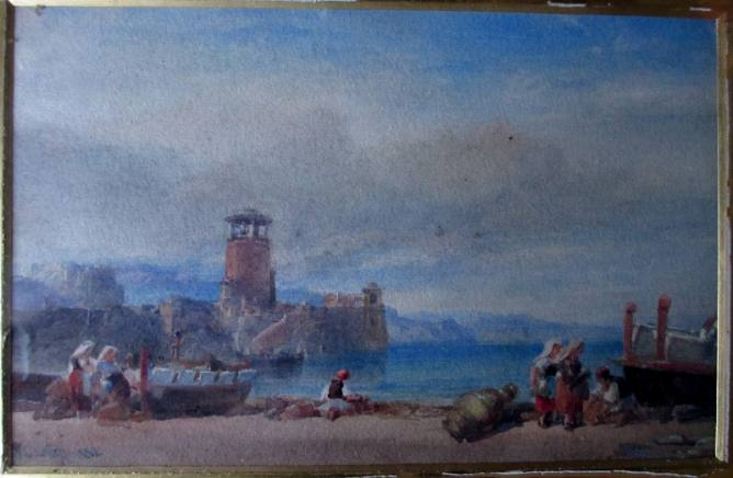 WL Leitch, Coast scene with Figures, watercolour, signed, 1882.