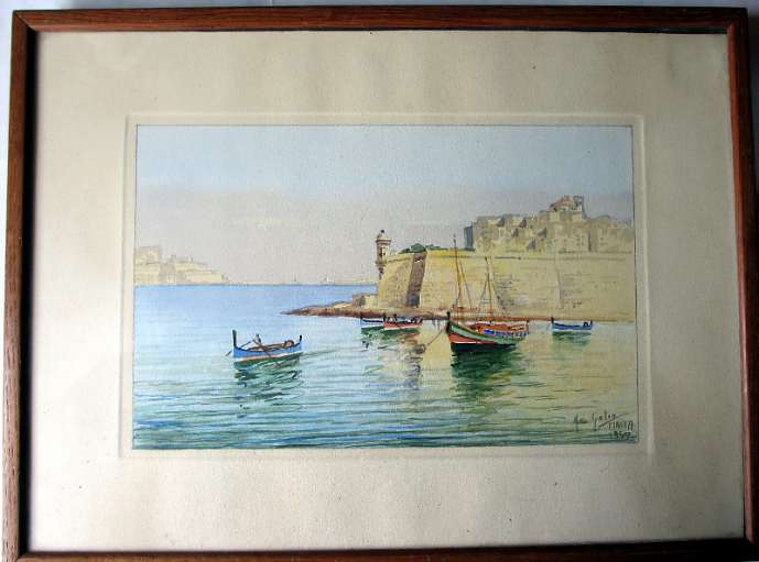Joseph Galea, aka Jos Galea, The Grand Harbour Valletta, watercolour, signed, 1957.