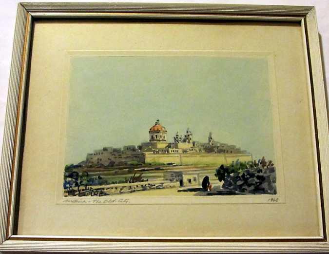 Joseph Galea, aka Jos Galea, Mdina, watercolour, signed, 1968.