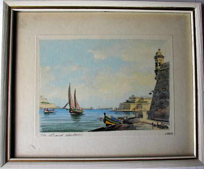 Joseph Galea, aka Jos Galea, The Grand Harbour, watercolour, signed, 1969.