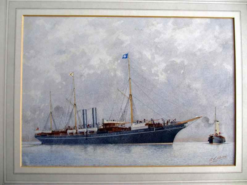 AE Morris, maritime, RMS Orinoco, watercolour, signed, c1900.