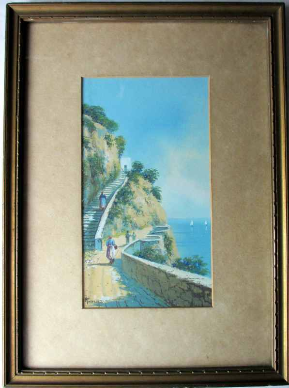 H Fusci, Bay of Naples, gouache, signed, 1929. Calcutta.