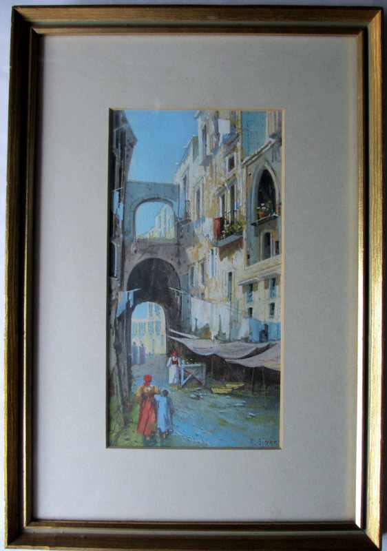 Y Gianni, Italian, Neapolitan Street, watercolour gouache, signed, c1900.