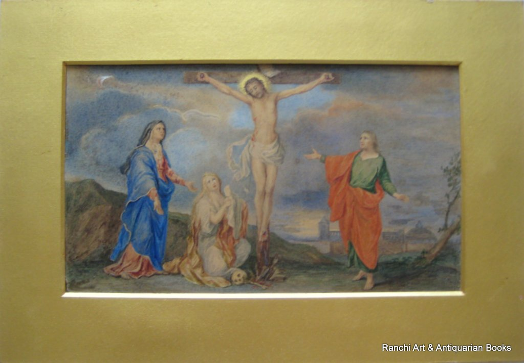 The Crucifixion, copied from old painting on parchment dated 1666 in the Soanes Museum London, signed verso RC Whiteside, c1880.