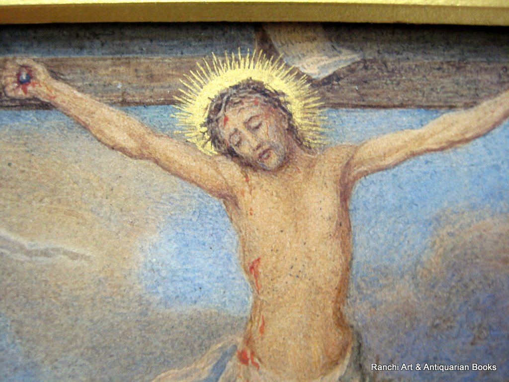 The Crucifixion, copied from old painting on parchment dated 1666 in the Soanes Museum London, signed verso RC Whiteside, c1880. Detail.