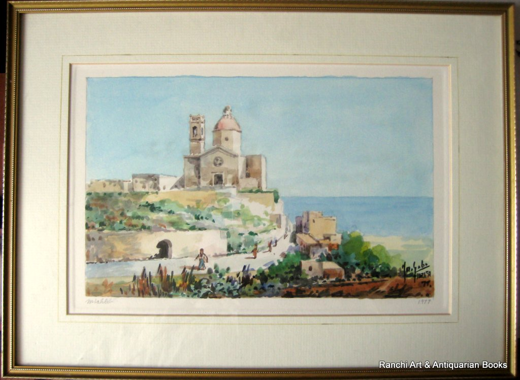 Church of St. Paul Mtahleb Rabat Malta, watercolour, titled, signed Jos. Galea Malta 77. 1977.