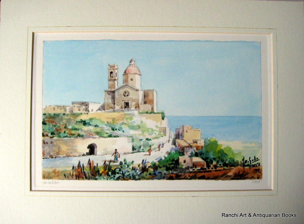 Church of St. Paul Mtahleb Rabat Malta, watercolour, titled, signed Jos. Galea Malta 77. 1977. Detail.