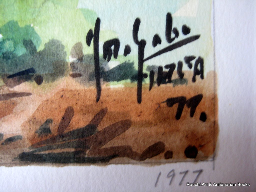 Church of St. Paul Mtahleb Rabat Malta, watercolour, titled, signed Jos. Galea Malta 77. 1977. Detail. Signature and date.