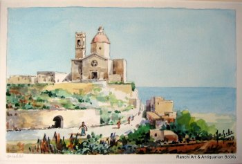 Church of St. Paul, Mtahleb, Rabat, Malta, watercolour, signed Jos. Galea Malta 77. 1977.