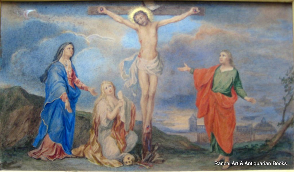 The Crucifixion, watercolour on card, signed verso R.C. Whiteside, c1880. Inscribed verso.
