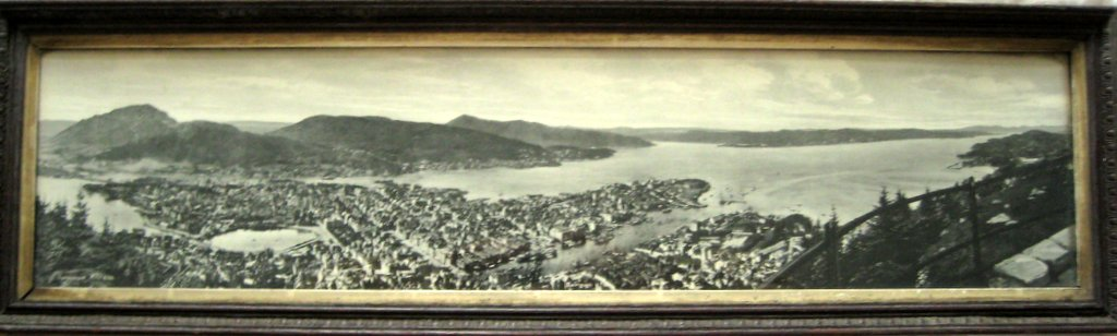 Norway Panoramic vintage photo print of Bergen, Eneberettiget Mittet, c1930.