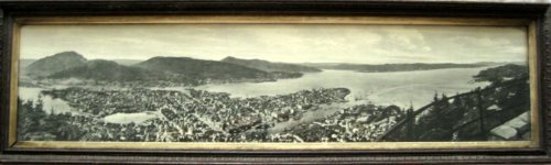 Norway Panoramic vintage photo print of Bergen, Eneberettiget Mittet, c1930