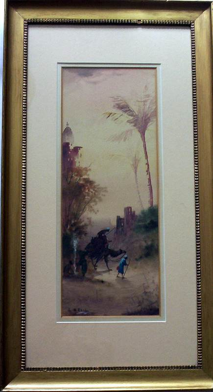 Edward Nevil, fl1880-1900, Arabian scene, figures and camel, watercolour, signed, c1890.