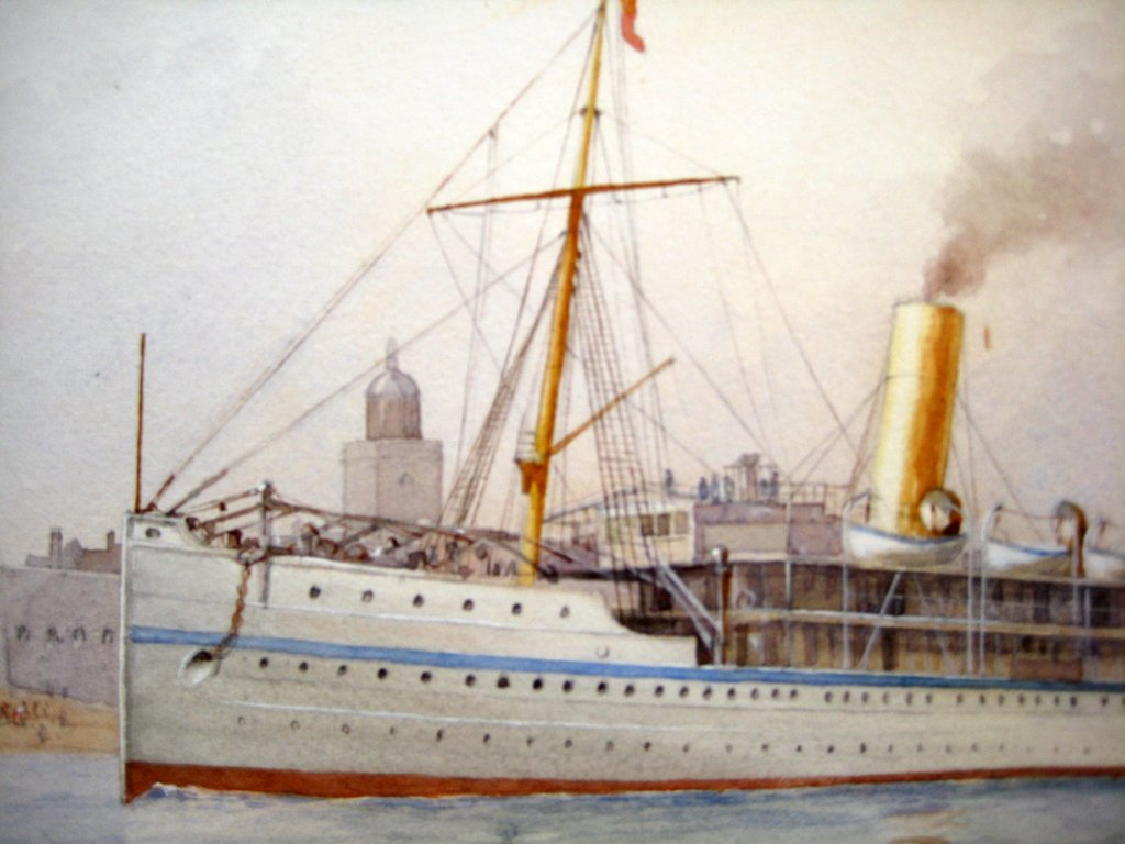 HMS Ophir, Portsmouth, watercolour, signed, CWF 1901. Detail.