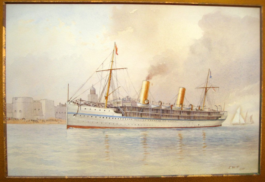 HMS Ophir, Portsmouth, watercolour, signed, CWF 1901.