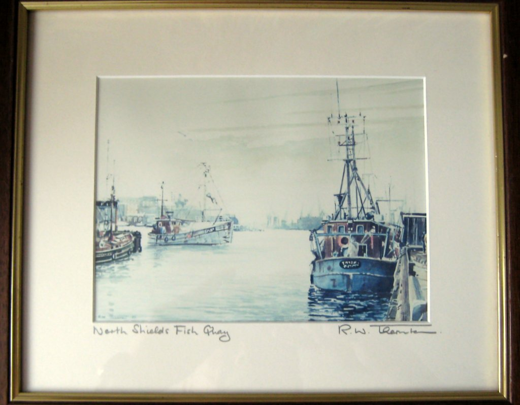 Photographic copy of watercolour, titled, framed and signed by artist RW Thornton 89.