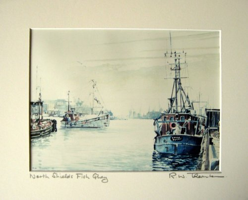 North Shields Fish Quay 1989, photo, titled and signed R.W. Thornton. Frame