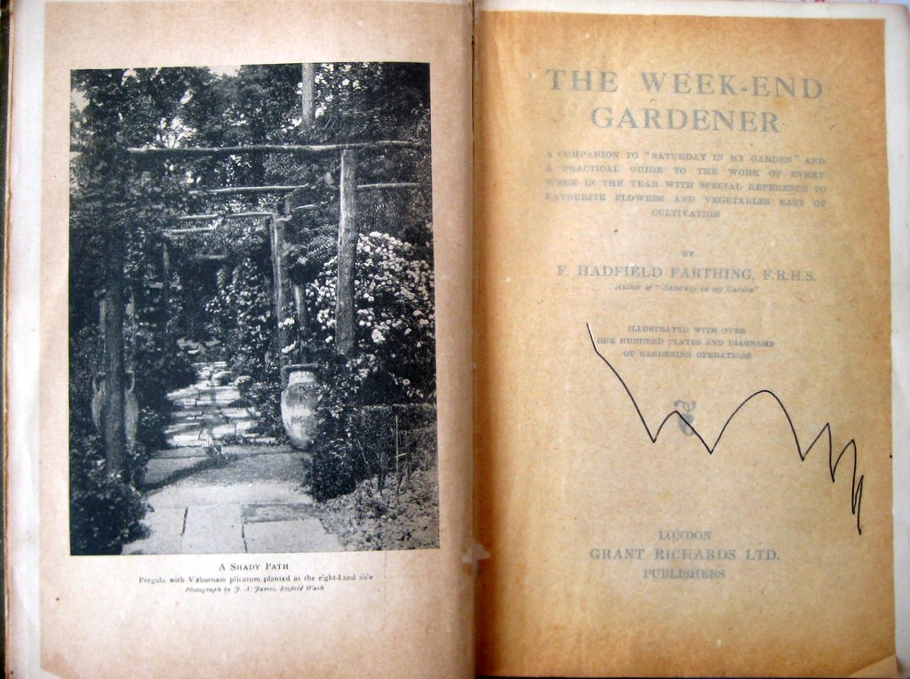 The Week-End Gardener, F. Hadfield Farthing, Grant Richards, London, 1st Edn., Reprinted 1920. Title page.