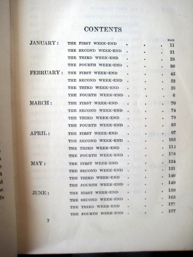 The Week-End Gardener, F. Hadfield Farthing, Grant Richards, London, 1st Edn., Reprinted 1920. Contents page.
