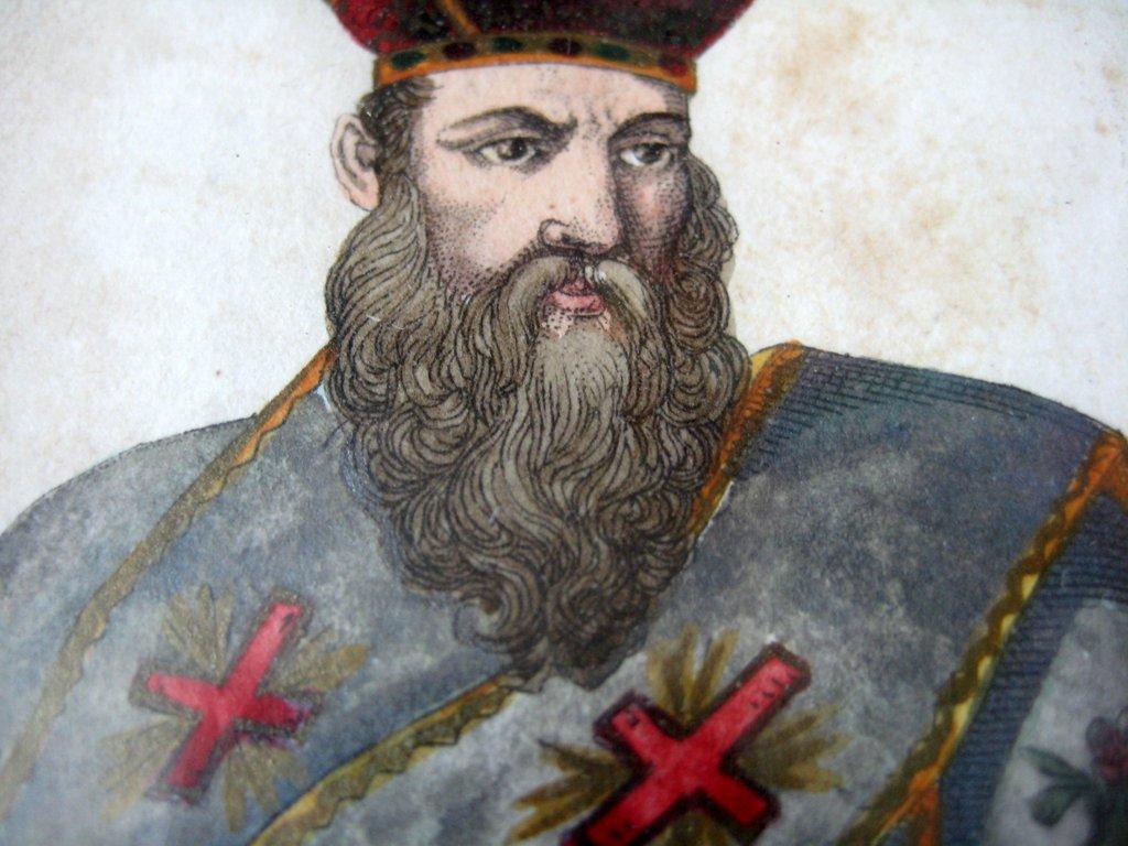 Vescovo Greco, colour lithograph, C. Liberali inc, c1850. Detail.