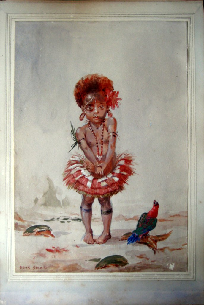 Papuan girl dressed for festival, watercolour gouache, signed Ellis Silas, c1923.