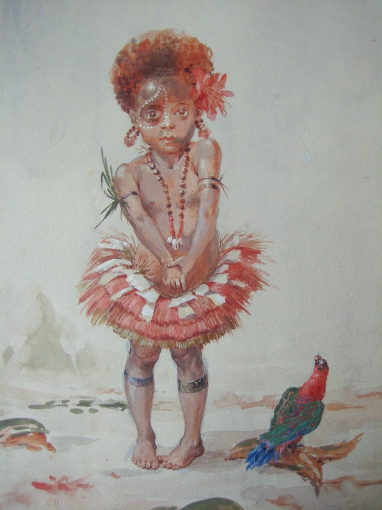 Papuan girl dressed for festival, watercolour gouache, signed Ellis Silas, c1923. Detail.