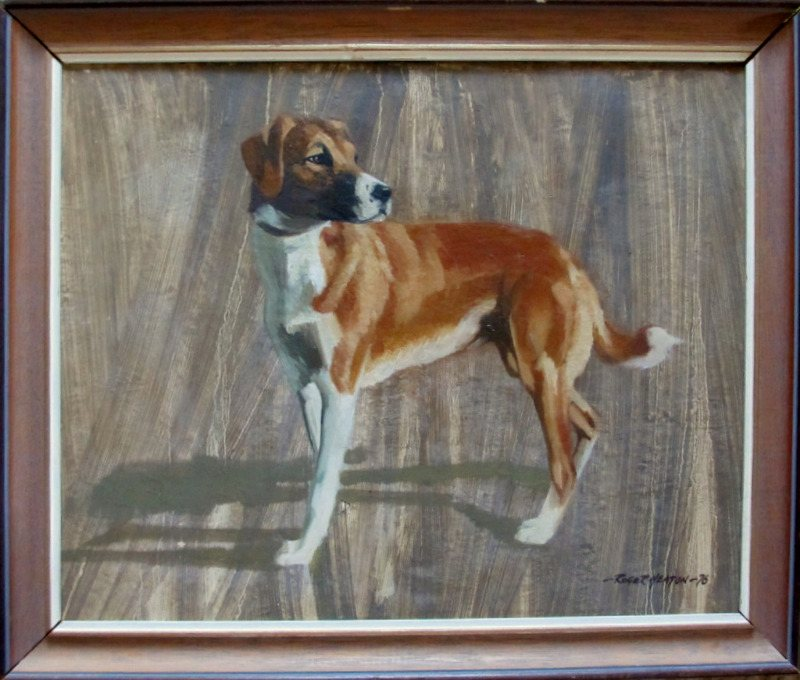 Roger Heaton, Did somethging move? Oil on board, signed Roger Heaton 76.