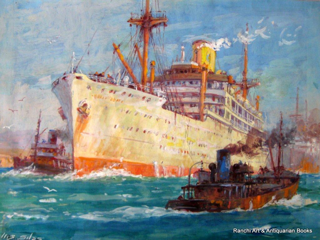 Ellis Silas, ss Strathallan P&O Line, watercolour gouache, signed Ellis Silas c1939.