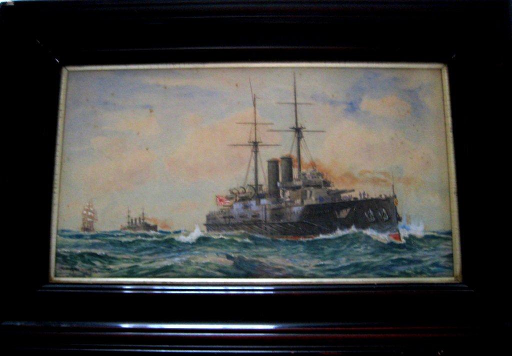 Japanese battleship Kashima, watercolour and gouache, signed Charles J. DeLacy 1906. Framed.
