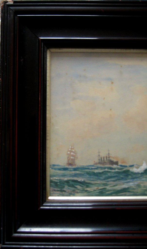 Japanese battleship Kashima, watercolour and gouache, signed Charles J. DeLacy 1906. Framed. Detail.