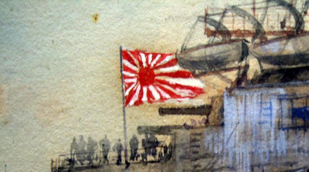 Japanese battleship Kashima, watercolour and gouache, signed Charles J. DeLacy 1906. Framed. Detail. The Rising Sun.