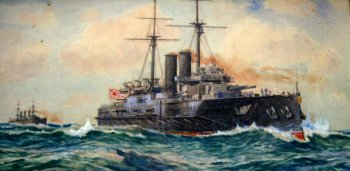 Imperial Japanese Navy battleship Kashima, watercolour, signed Charles J. DeLacy 1906.  SOLD  22.02.2016.