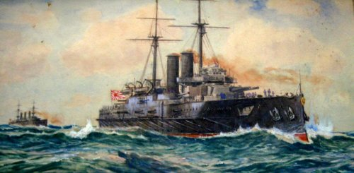 Imperial Japanese Navy battleship Kashima, watercolour, signed Charles J. D