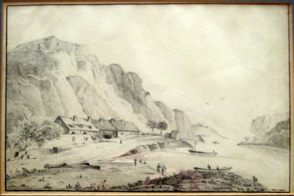 Scottish coastal scene, graphite drawing on paper, signed John C. Howe, c1900. Framed.