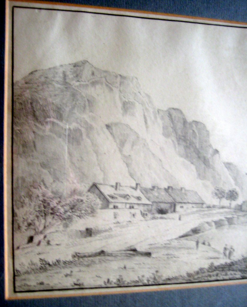 Scottish coastal scene, graphite drawing on paper, signed John C. Howe, c1900. Framed. Detail.