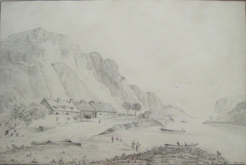 Scottish Coastal Scene Graphite Drawing Signed John C