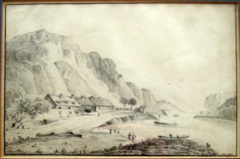 Scottish coastal scene, graphite drawing, signed John C. Howe, c1900.