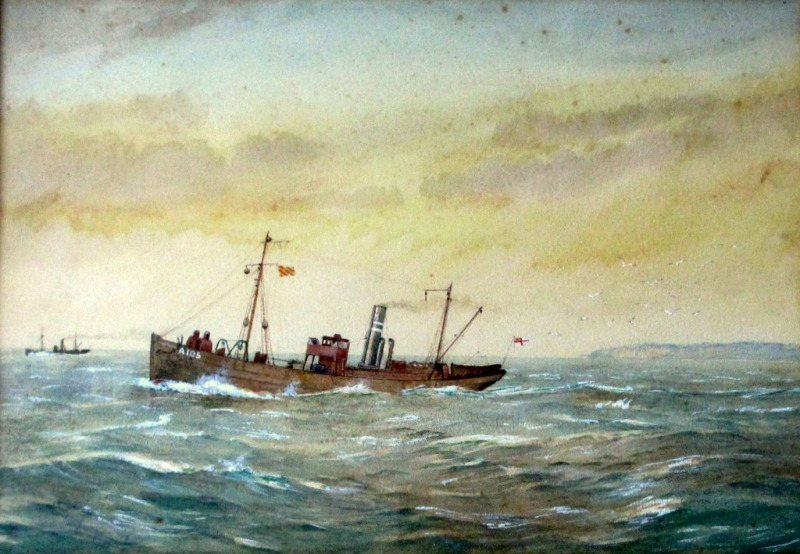 R. Gurnell, Minesweeper ST Stratherrick A105, watercolour gouache, inscribed R. Gurnell verso. c1914.