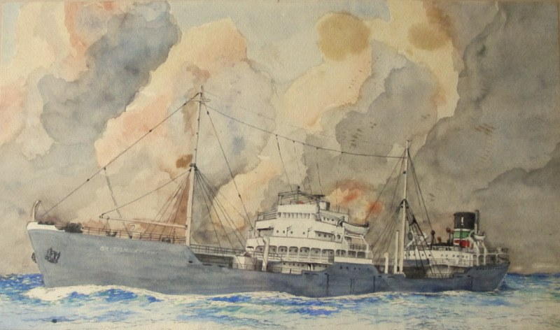 W. Hodgson, 2nd Mate. mv British Knight, BP tanker at sea, watercolour, signed. c1955.