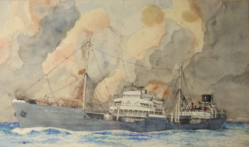 W. Hodgson, 2nd Mate. mv British Knight, BP tanker at sea, watercolour, signed. c1955.