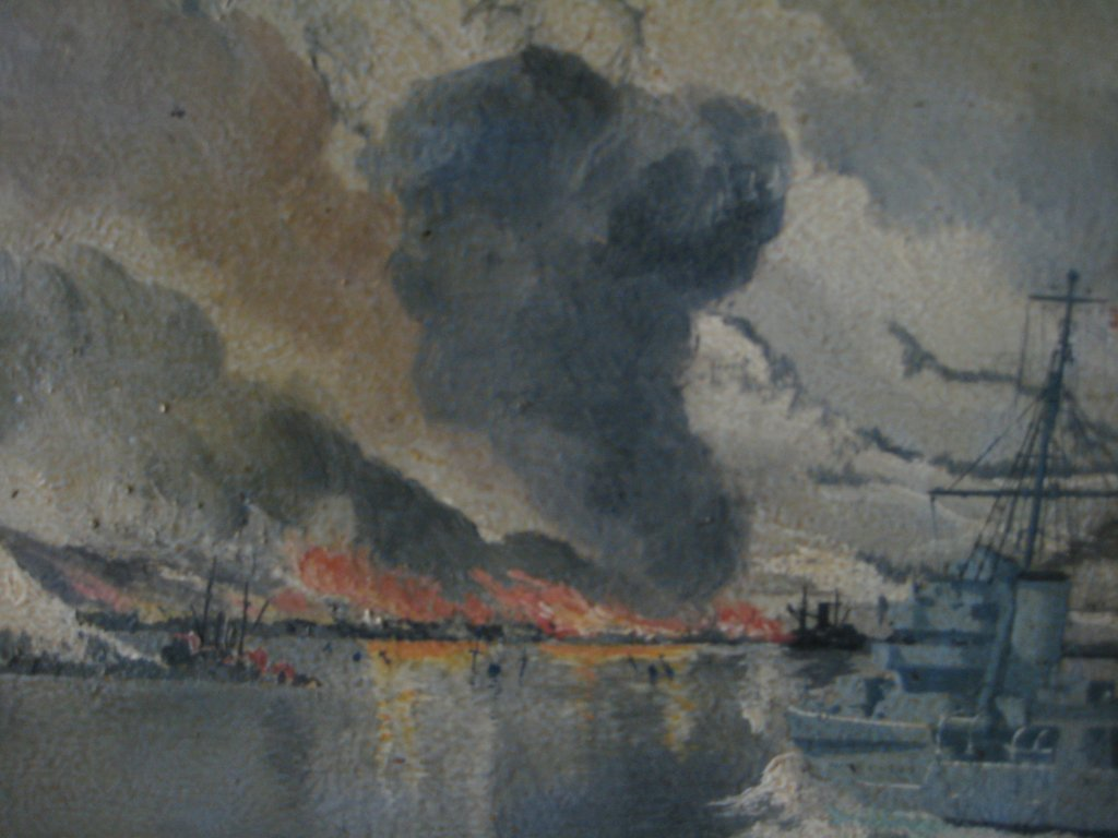 HMS Enterprise bombarding Narvik 1940, oil on board, signed AJ Smart 1940. Framed. Detail.