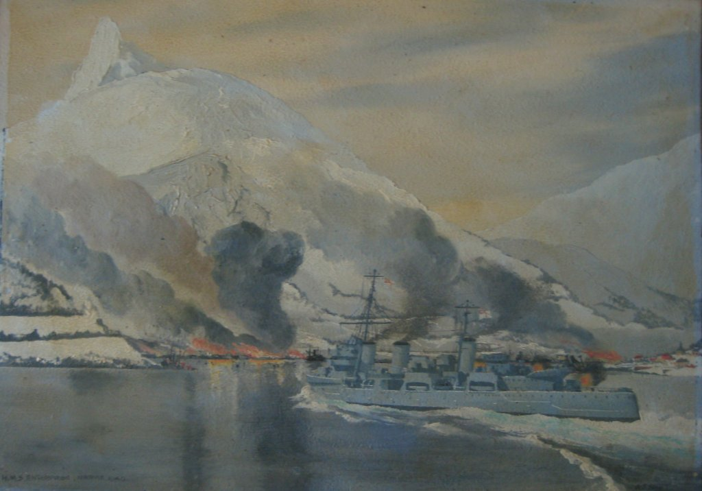 HMS Enterprise bombarding Narvik 1940, oil on board, signed AJ Smart 1940. Framed.