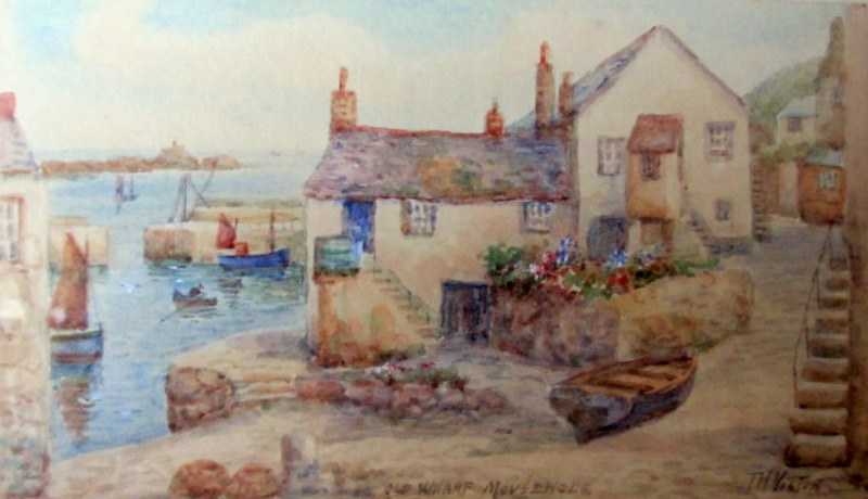 T.H. Victor, aka W. Sands, Old Wharf Mousehole, watercolour, signed. c1950.
