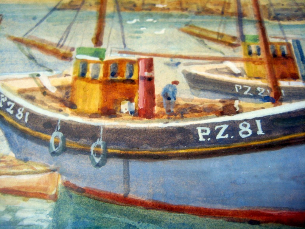 Mousehole Harbour with Fishing Boats, watercolour, signed TH Victor c1950. Details.