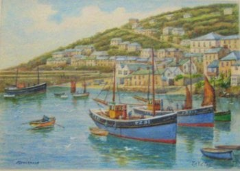 Mousehole, Fishing Boats in Harbour, watercolour, signed TH Victor c1950.