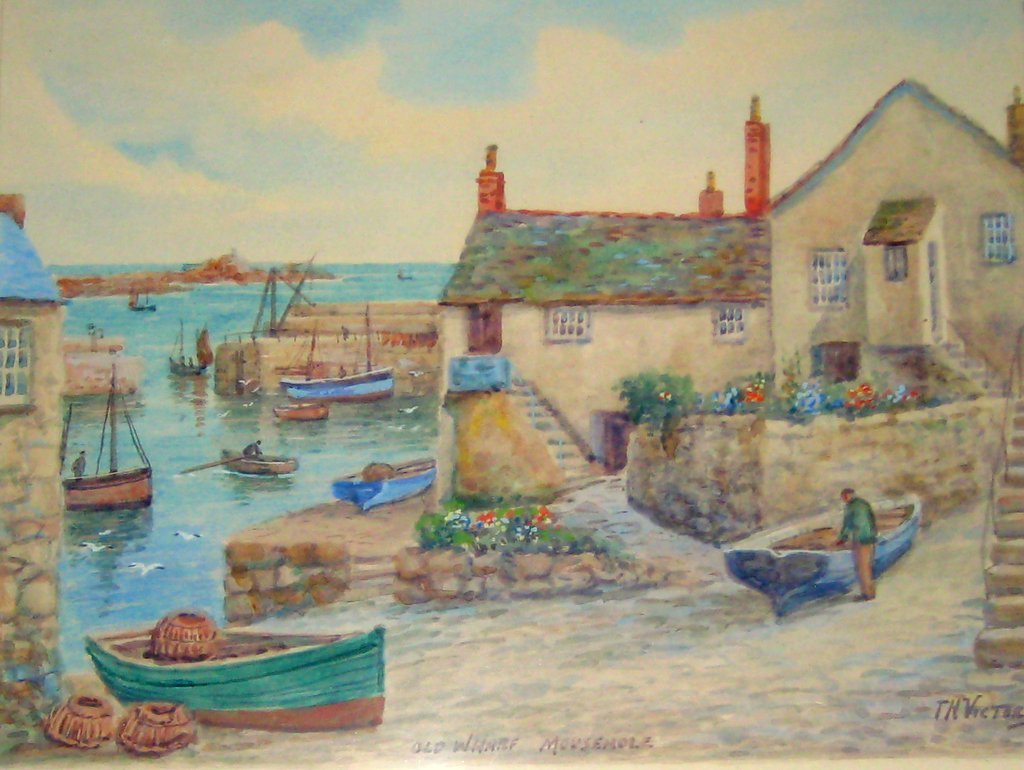 Old Wharf Mousehole, watercolour, signed TH Victor, c1950. Framed.